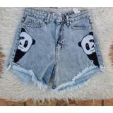 Pantaloni dama scurti de blug Panda Albastru