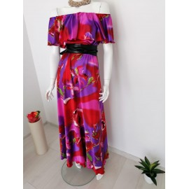 Rochie lunga din satin Purple