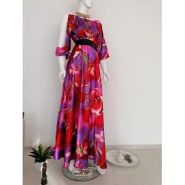 Rochie lunga din satin  cu maneci crapate  Purple