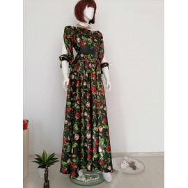 Rochie lunga din satin cu maneci crapate cu imprimeu floral Monna