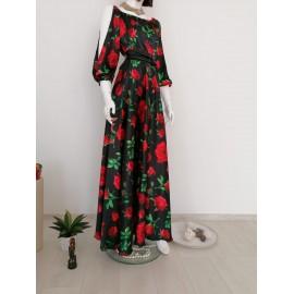 Rochie lunga din satin cu maneci crapate si imprimeu floral Deea