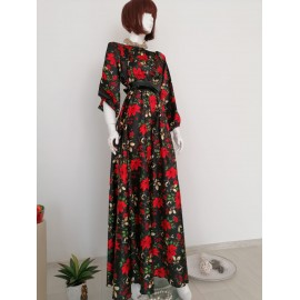 Rochie lunga din satin cu imprimeu floral Mikki