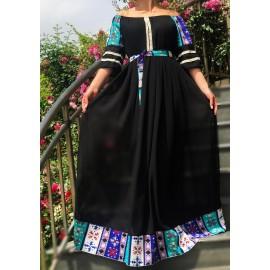 Rochie lunga din voal cu imprimeu geometric Ambra