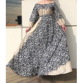 Rochie lunga din voal cu imprimeu Zebra