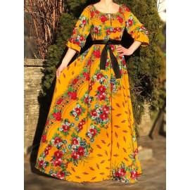 Rochie lunga cu imprimeu floral Rutty Mustar