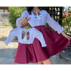 Set rochii mama - fiica cu imprimeu cu maci