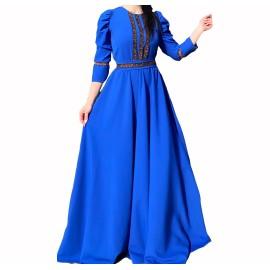 Rochie cu model floral lunga Eda Albastru