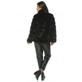 Jacheta de blana neagra cu guler inalt Mirage